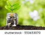 savings money jar full of coins ... | Shutterstock . vector #553653070