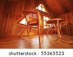 wooden interior with wicker... | Shutterstock . vector #55365523