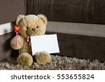 teddy bear with red hearts... | Shutterstock . vector #553655824