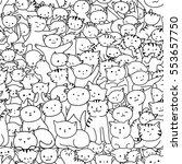 doodle cats seamless pattern.... | Shutterstock .eps vector #553657750