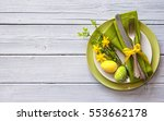easter table setting with... | Shutterstock . vector #553662178