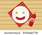 two egg fried and tomato sauces ... | Shutterstock .eps vector #553668778