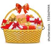 vector wicker basket with gifts | Shutterstock .eps vector #553669444