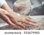 girl caring her skin with body...   Shutterstock . vector #553679983
