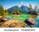 swimming on the hintersee lake...   Shutterstock . vector #553680394