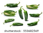 hatch green chiles. whole and... | Shutterstock . vector #553682569