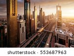 dubai skyline in sunset time ... | Shutterstock . vector #553687963