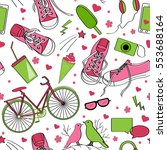 cute teenager pattern with... | Shutterstock .eps vector #553688164