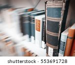 ancient books on bookshelves in ... | Shutterstock . vector #553691728
