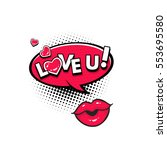 comic speech bubble with hearts ... | Shutterstock .eps vector #553695580