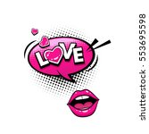 comic speech bubble with hearts ... | Shutterstock .eps vector #553695598