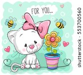 Stock vector greeting card cute cartoon kitten with flower 553700560