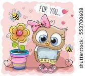 greeting card cute cartoon owl... | Shutterstock .eps vector #553700608