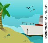 sunny summer seascape shore  ... | Shutterstock . vector #553703734