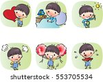 vector drawing cartoon boys set | Shutterstock .eps vector #553705534