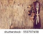 winter holiday dinner plate... | Shutterstock . vector #553707658