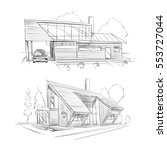 hand drawn cottage house sketch ... | Shutterstock .eps vector #553727044