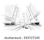 hand drawn sketch city vector... | Shutterstock .eps vector #553727140