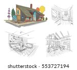 hand drawn cottage house sketch ... | Shutterstock .eps vector #553727194