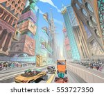 fantastic city of the future.... | Shutterstock .eps vector #553727350