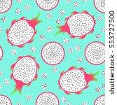 pitaya   seamless pattern.... | Shutterstock .eps vector #553727500