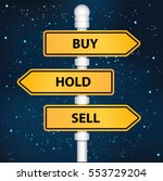 buy hold and sell signpost... | Shutterstock .eps vector #553729204