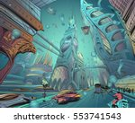 underwater fantastic city.... | Shutterstock .eps vector #553741543
