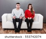 shy woman and man sitting on... | Shutterstock . vector #553742074
