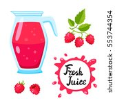 juice with raspberry in a glass ...   Shutterstock .eps vector #553744354