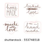 collection of four cute hand... | Shutterstock .eps vector #553748518