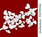 valentines day  white hearts on ... | Shutterstock . vector #553749544