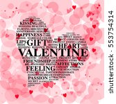 heart made from love words on... | Shutterstock . vector #553754314