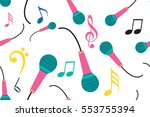 abstract singing mic seamless... | Shutterstock .eps vector #553755394