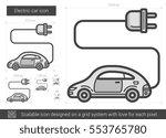 electric car vector line icon... | Shutterstock .eps vector #553765780
