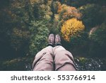 feet selfie on cliff with... | Shutterstock . vector #553766914