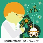 scientist looking trough a... | Shutterstock .eps vector #553767379
