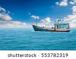 fishing boats are... | Shutterstock . vector #553782319