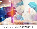 double exposure of scientist... | Shutterstock . vector #553790314