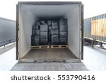 road freight trailer loaded... | Shutterstock . vector #553790416