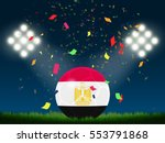 egypt flag in soccer ball with... | Shutterstock .eps vector #553791868