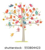 Cute Vector Card. Birds Family...