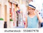 adorable happy little girl... | Shutterstock . vector #553807978