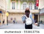 happy young urban woman... | Shutterstock . vector #553813756