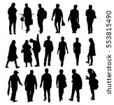 people silhouette set   vector | Shutterstock .eps vector #553815490
