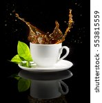 coffee cup splashing isolated...   Shutterstock . vector #553815559