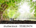 light bulb glowing in soil  ... | Shutterstock . vector #553819474