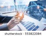 double exposure of businessman... | Shutterstock . vector #553822084