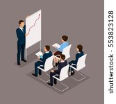 isometric people  businessmen... | Shutterstock .eps vector #553823128