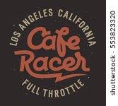 cafe racer hand drawn lettering ... | Shutterstock .eps vector #553823320