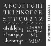 serif hand drawn font. vector.... | Shutterstock .eps vector #553823386